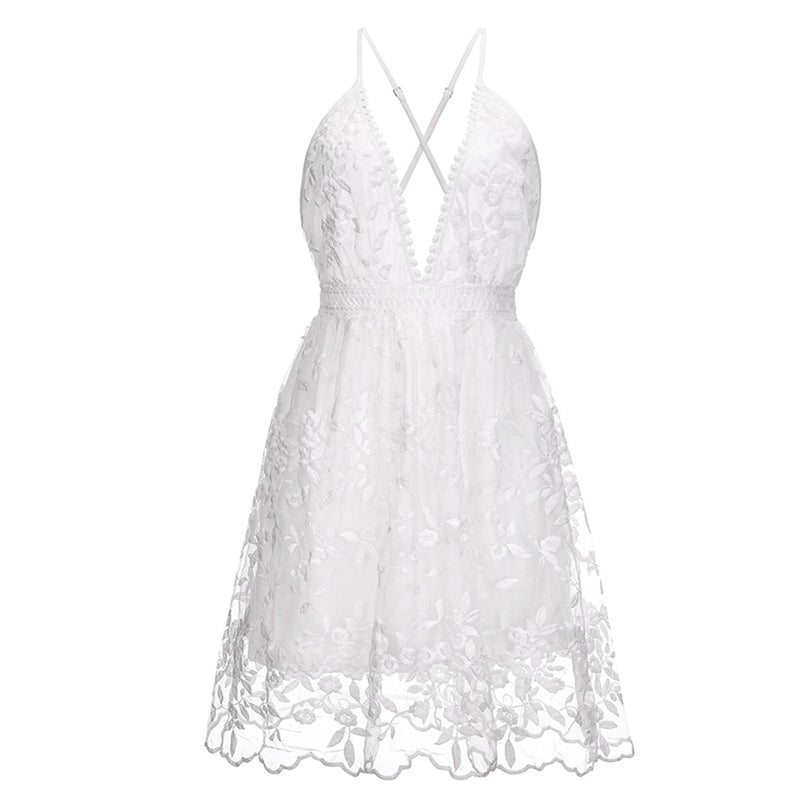 Summer Sundress White Floral Embroidery Mesh Lace Sexy Backless Beach Dress Clothes For Women  New Arrival  Fashion - SunLify