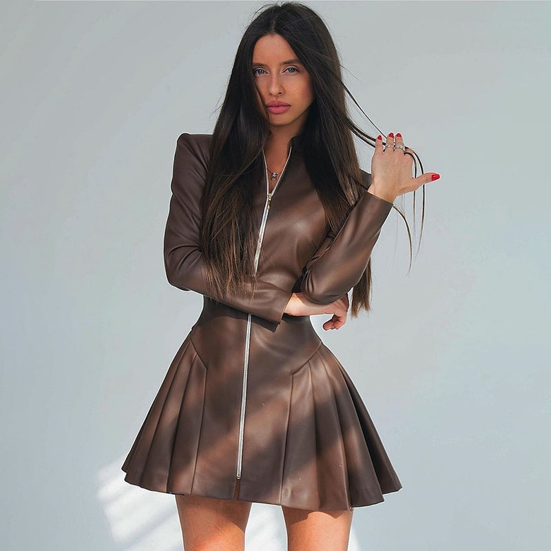 Leather Dress Autumn Winter Fashion Ladies Black Zip Up Ruched Dresses For Women Party Night Club Clothes New Arrival  Fall - SunLify