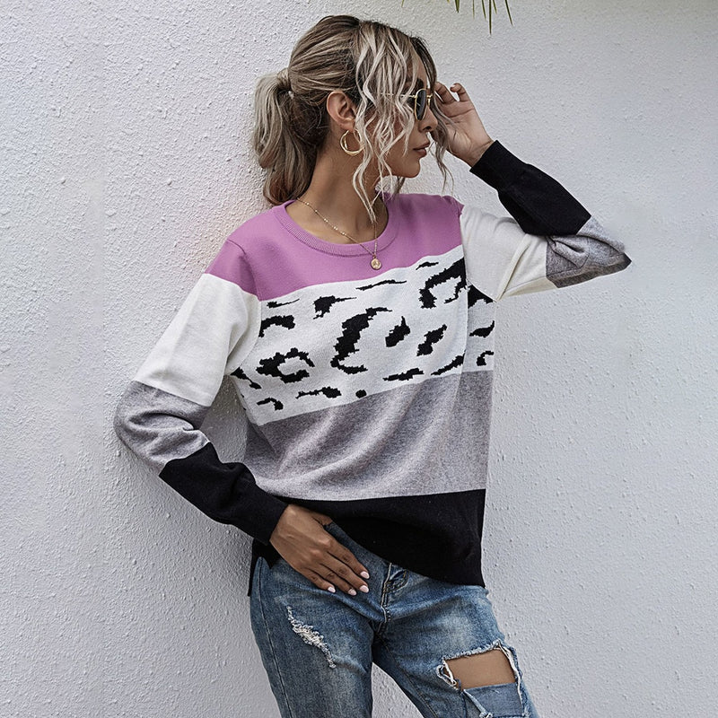 Buy Cheap Cardigan Sweater Autumn Winter Patchwork Leopard Print Loose Long Sleeve Button Up Knitted Cardigan Top Fall  Women Clothing Online - SunLify