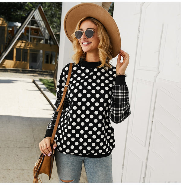 Buy Cheap Sweatshirt Women Autumn Winter Long Sleeve Plaid Stitching Pockets Black Pullover Polka Dot Crewneck Tops Fall Fashion Clothes Online - SunLify