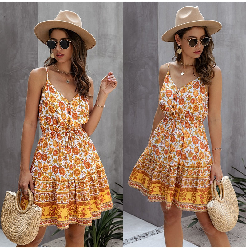 Buy Cheap Lossky Summer Women Dress Buttons Cotton Mini Sundress Fashion Sexy Short Backless Slip Elastic Waist  Sleeveless Dresses Online - SunLify