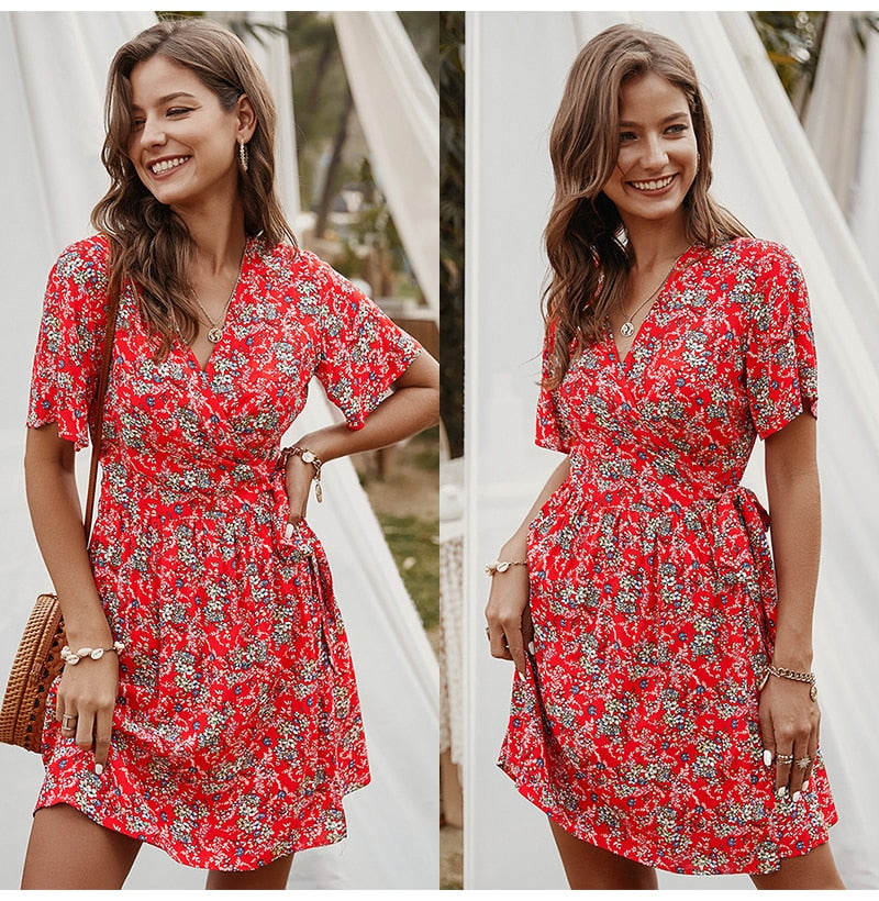Floral Dres Women Summer Print Lacing-Up Red Casual Ladies Fitted Mini Short Sundress New Arrival  Yellow Clothes For Women - SunLify