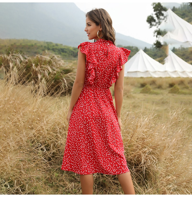 Buy Cheap Chiffon Dress Women Elegant Summer Floral Ruffle Stitching Tank Sundress Knees Casual Fitted Clothing  Red Dresses For Women Online - SunLify