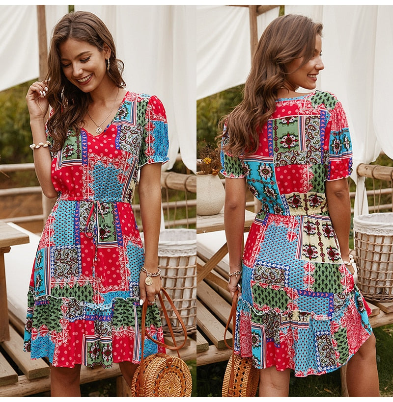 Buy Cheap Summer Print Dress Casual A-line Mini Short Sundress Red Fitted Womens Clothing Bow Lacing-Up Blue  Fashion Ladies Outfits Online - SunLify