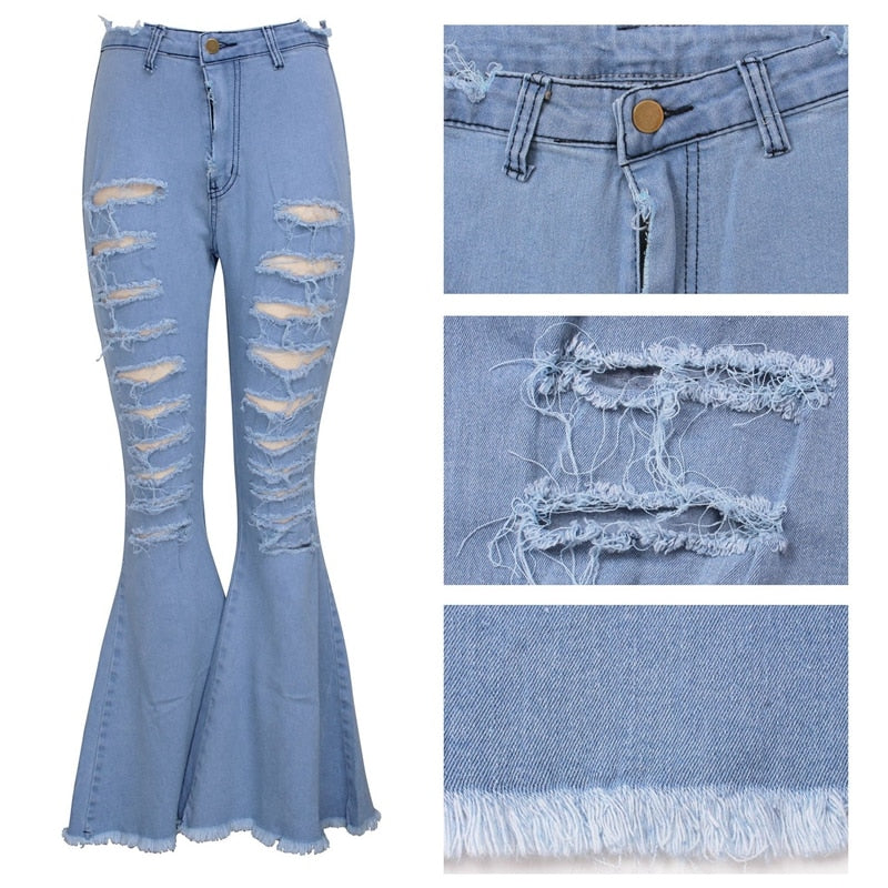 Fashion Denim Flare Pants Women Vintage Ripped Holes High Waist Jeans Wide Leg Trousers Sexy Casual Patchwork Bell-Bottoms Jeans - SunLify
