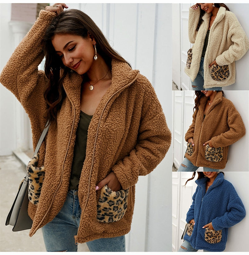 Buy Cheap Lossky Sweatshirt Tops Women Winter Thick Warm Jacket Ladies Pocket Stitching Zip Up Pastel Oversized Plush Clothes Coats Online - SunLify