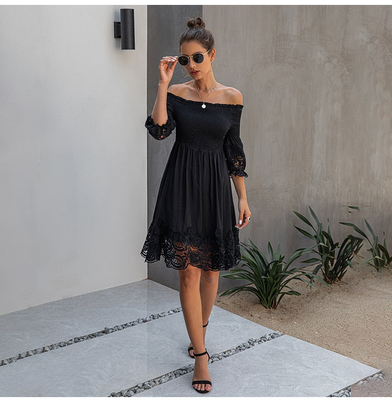Off Shoulder Dress Sexy Women Backless Ruched Dresses Party Night Ladies Black Lace Fitted Clothing Elegant  Summer Spring - SunLify