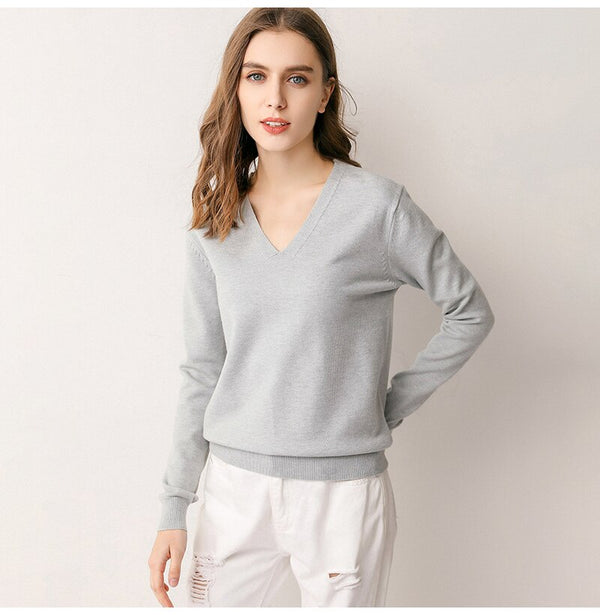 Buy Cheap Knitted Sweater Autumn Long Sleeve V Neck Pullover Basic Thin Tops White Jumpers Sweaters Knitwear Women  Fashion Clothes Online - SunLify