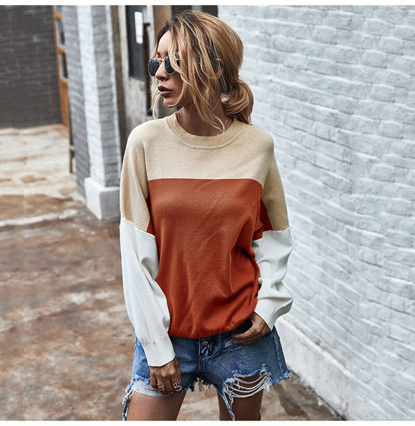Buy Cheap Knitted Sweater Autumn Winter Green Patchwork Color Ladies Long Sleeve Jumpers Pullover Sweaters Tops Women Fashion Clothes Online - SunLify