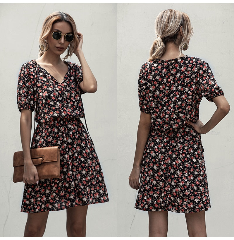 Dress Women Casual Summer Flower Print Mini Dresses Vintage Black Floral Fitted Clothing White  Retro Clothes Women Everyday - SunLify