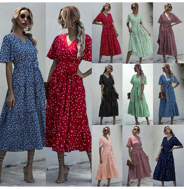 Long Dress Women Summer Casual Polka-dot Floral Print Midi Sundresses Black Elegant Fitted Clothing  Red Dresses For Women - SunLify