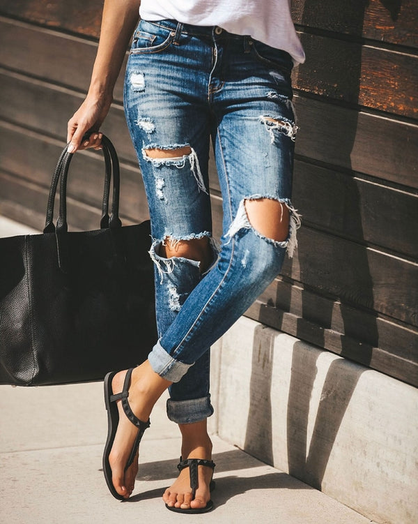 Buy Cheap Boyfriend Hole ripped jeans for women Pants Cool Denim Vintage skinny push up jeans High Waist Casual ladies Slim calca jeans Online - SunLify