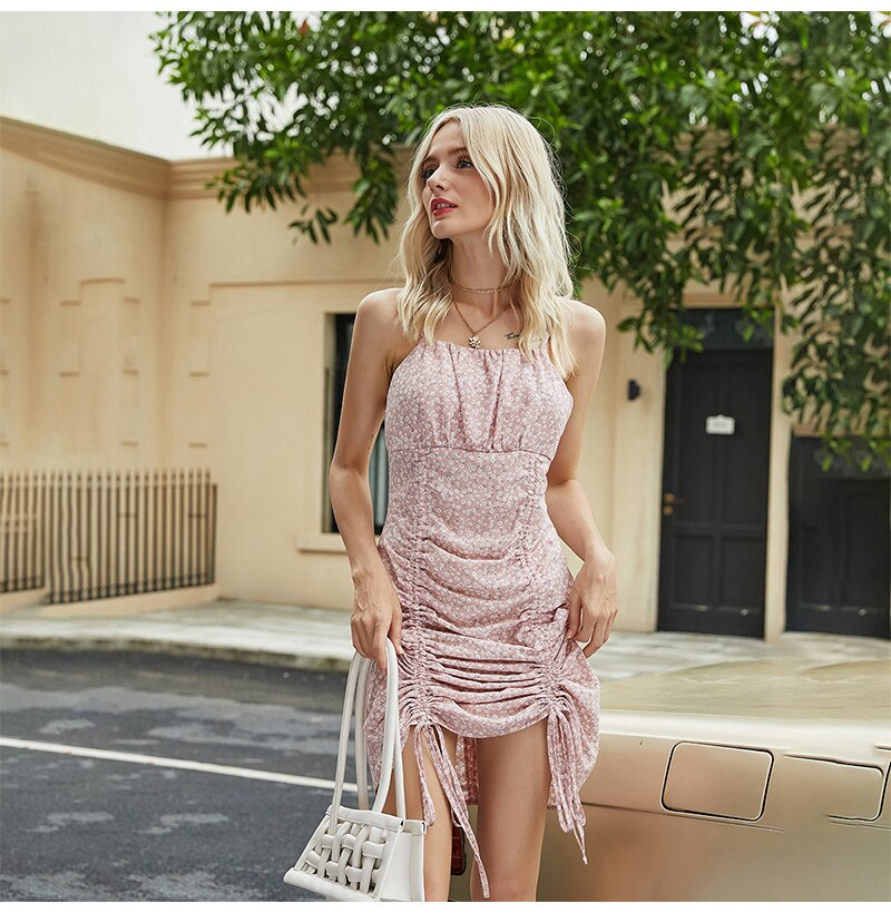 Dress Women Flower Floral Backless Slip Dresses Summer Elegant Pink Drawsring Ruched Mini Womens Clothes Party Girls  Trendy - SunLify