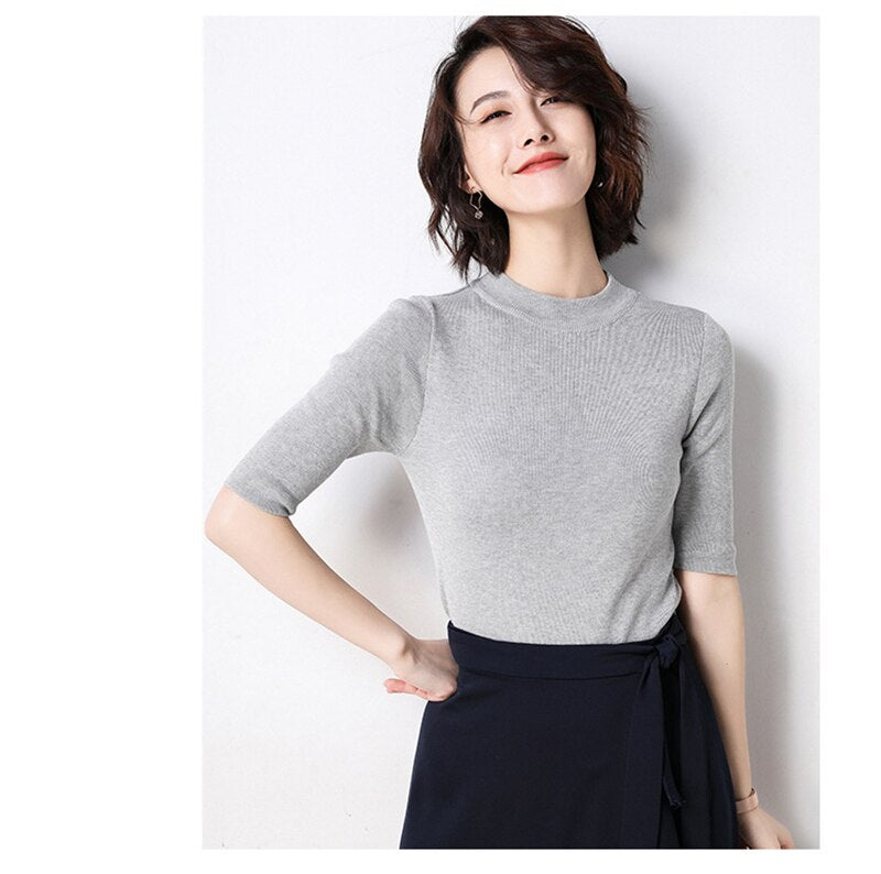 Buy Cheap Lossky Knitted Sweater Tops Women Black Korean Fashion Half-high Collar Clothes Dames Summer Autumn Thin Jumpers Knitwear Online - SunLify