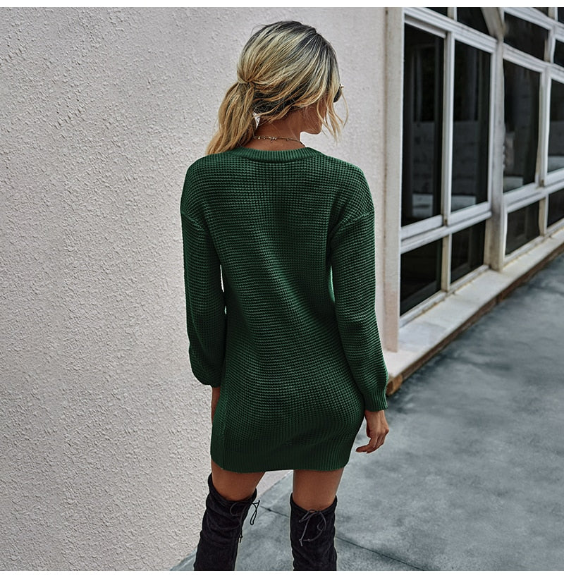Sweater Dresses Women Autumn Winter Long Sleeve Knitted Clothes Casual Ladies Pure Black Button Slim Fit Dress Fall  Fashion - SunLify