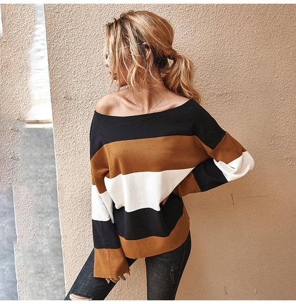 Buy Cheap Knitted Sweater Ladies Striped Stitching Long Sleeve Pullover Sweaters Tops Fashion Autumn Winter Clothes Jumper Knitwear Women Online - SunLify