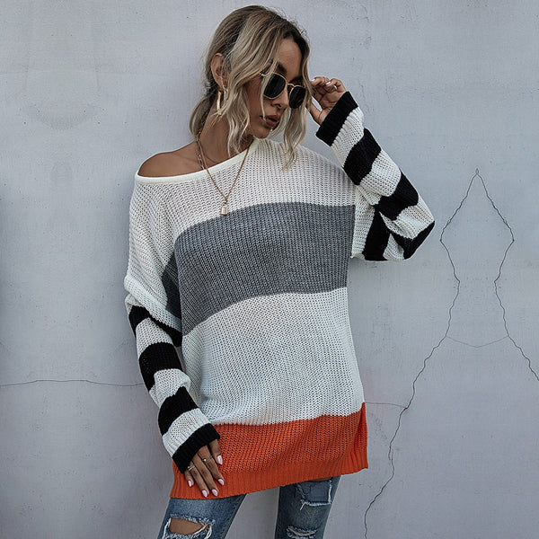 Buy Cheap Long Sweaters Woman Autumn Winter Stitching Striped Long Sleeve Knitted Tops Pullover Sweater Fall  Fashion Womens Clothes Online - SunLify