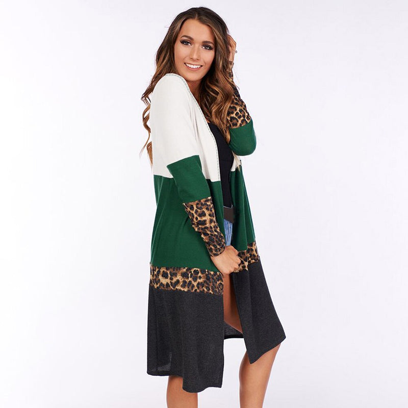 Buy Cheap Long Sweater Cardigan Autumn Winter Loose Leopard Knitwear Jacket Green Long Sleeve Knit Cardigans Tops Fall  Women Clothing Online - SunLify