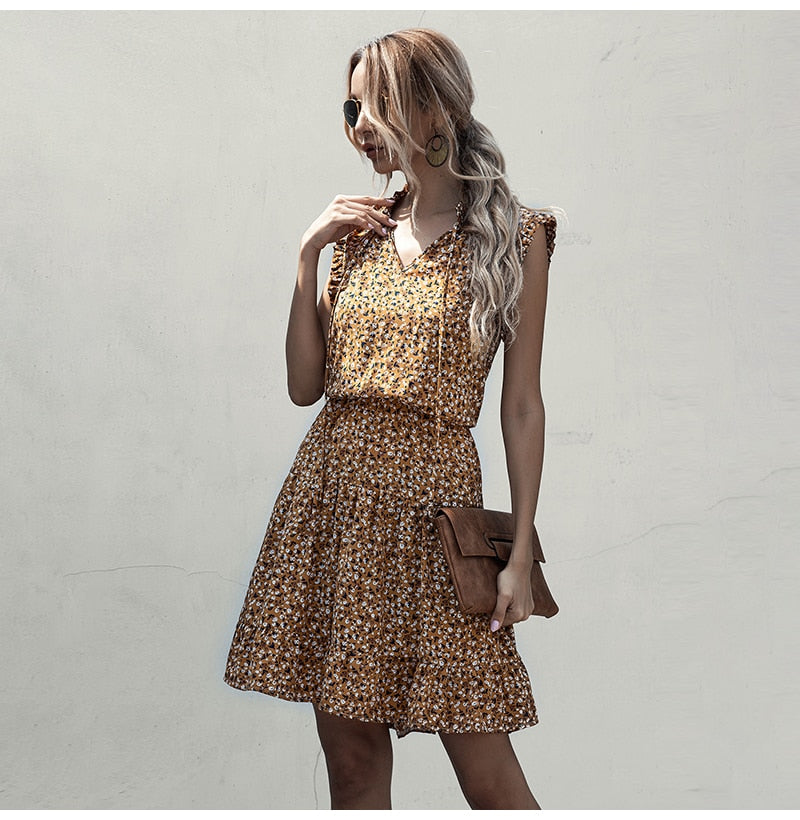 Woman Dress Summer Floral Print Ruffle Ruched Sleeveless Tank Dresses Casual Black  Yellow Vacation Trendy Clothes For Women - SunLify
