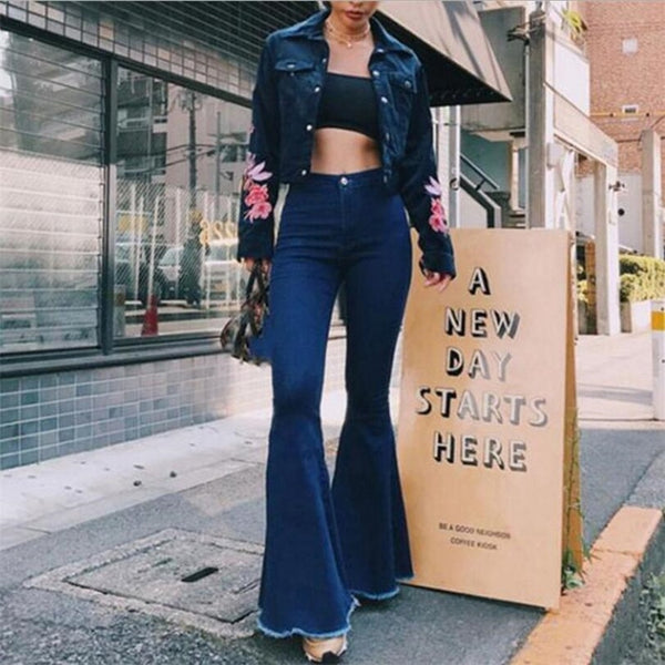 Buy Cheap Ladies Denim High Waist Flare Jeans Boyfriend Jeans Women vintage Sexy Skinny bell bottom jeans Pants Wide Leg Mom Jeans push up Online - SunLify
