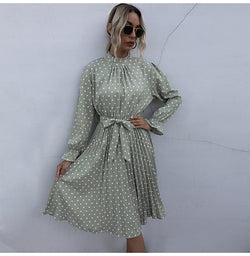 Buy Cheap Woman Long Dress Autumn Spring Elegant Polka Dot Print Ruched Bow Dresses Casual Black Long Sleeve Trendy Clothes For Women Online - SunLify