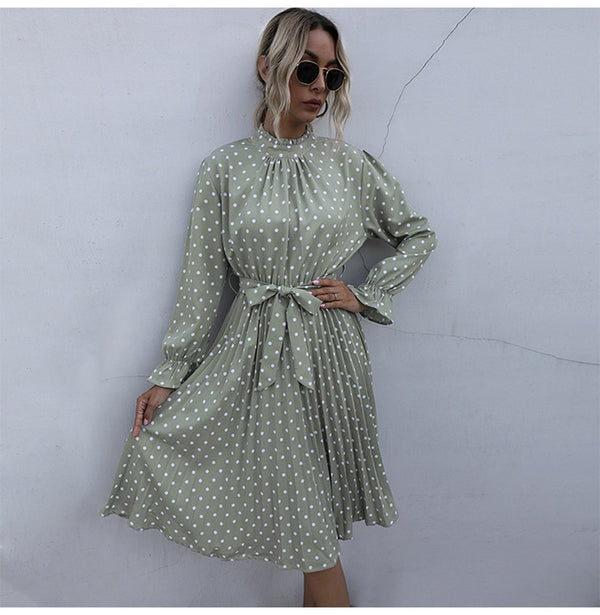 Woman Long Dress Autumn Spring Elegant Polka Dot Print Ruched Bow Dresses Casual Black Long Sleeve Trendy Clothes For Women - SunLify