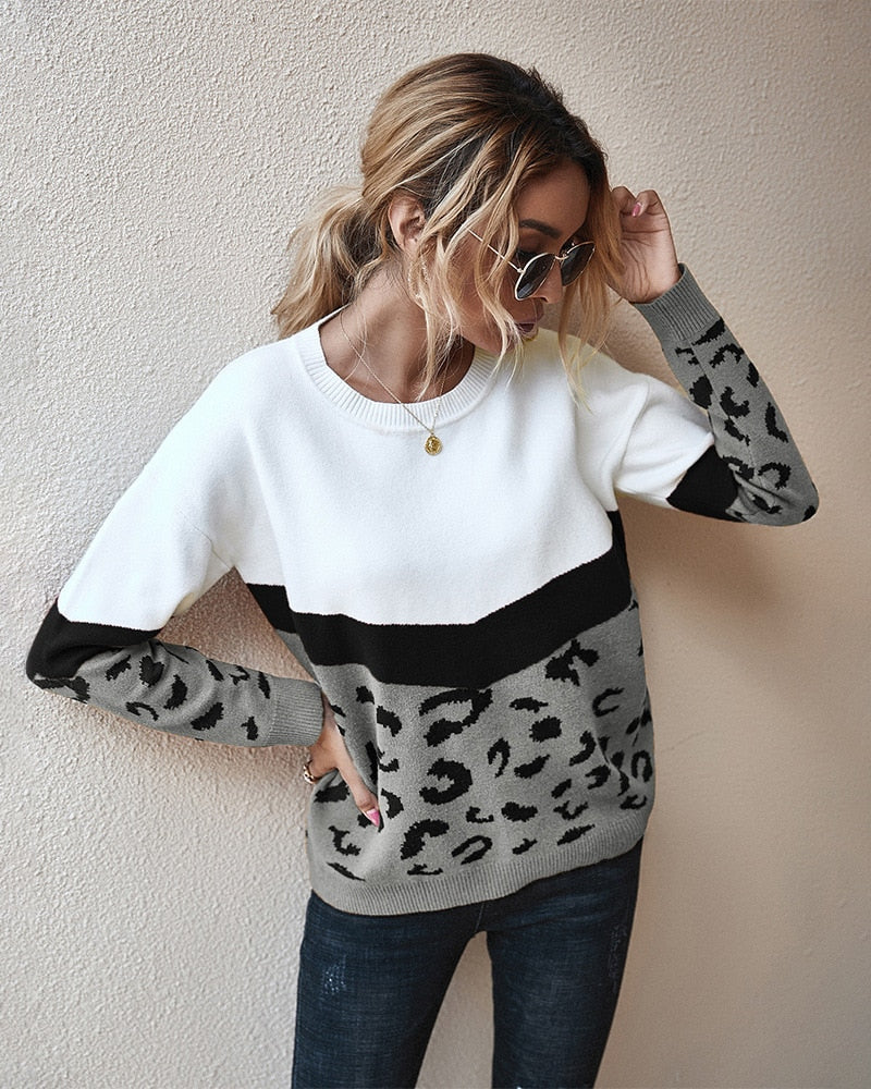 Sweater Women Leopard Patchwork Autumn Winter Ladies Long Sleeve Jumper Pullover Sweaters Top Brown Fashion Womens Clothing - SunLify