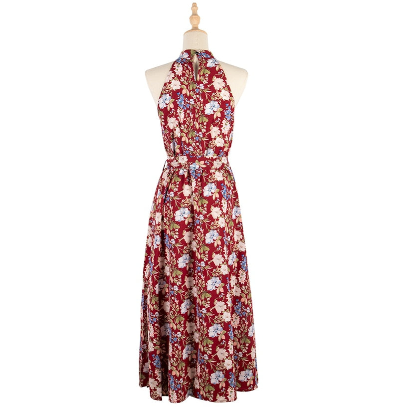 Long Dress Women Casual Summer Floral Midi Sundresses Elegant Ladies Flower Fitted Beach Tunic Clothing  Red Clothes Women - SunLify