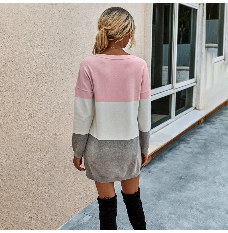 Buy Cheap Sweater Dresses Women Autumn Winter Long Sleeve Casual Pink Striped Patchwork Slim Knitted Dress  Fashion Clothes For Women Online - SunLify