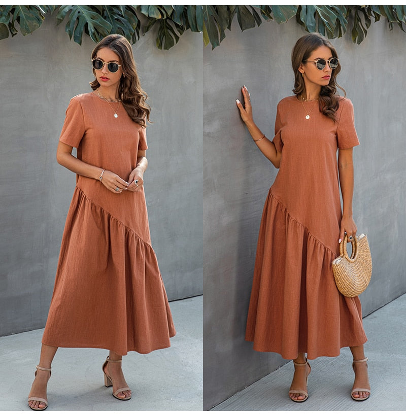 Women T-shirt Dress Summer Ruched Long Dresses Ladies Elegant Loose Fit Midi Clothing  Fashion Free People Dresses For Women - SunLify