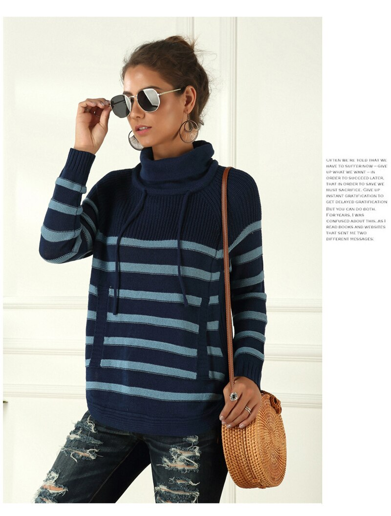 Lossky Women Sweater Striped Turtleneck Autumn Winter Warm Tops Casual Clothes Pull Femme Long Sleeve Drawstring Pullovers - SunLify