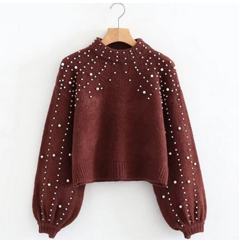 Buy Cheap Lossky Cashmere Sweater Pullover With Pearls Women Pure Autumn Winter Warm Knit Pull Jumpers Female Top Clothes Online - SunLify