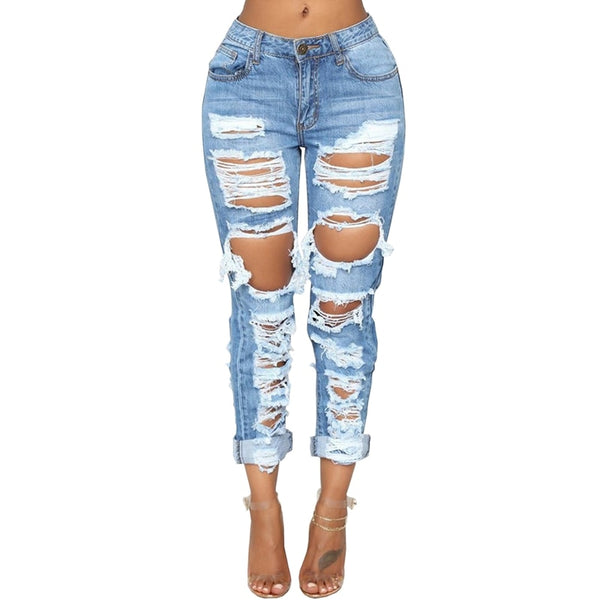 Buy Cheap Fashion Ripped Jeans For Women Denim Straight Pants Trousers Mid Waist Casual Skinny Jeans Torn Jeggings boyfriend jeans Online - SunLify