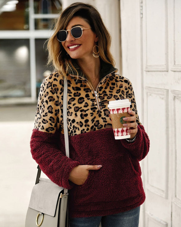Lossky Winter Sweatshirt Leopard Patchwork Women Long Sleeve Pockets Ladies Plush Tops Zipper Pullover Warm Clothing Female - SunLify