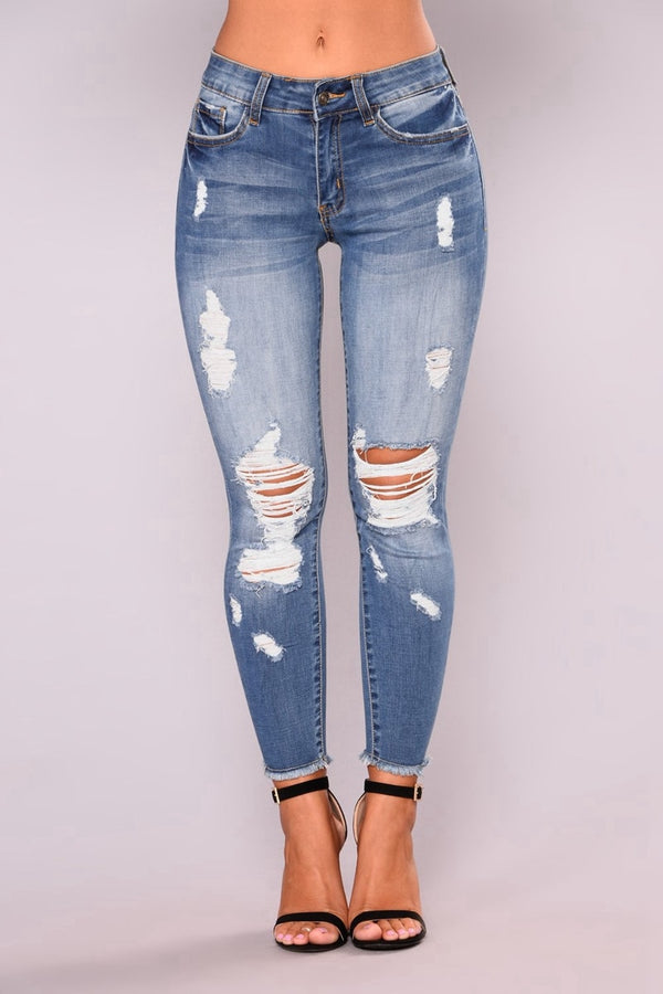 fashion Low Waist Skinny Spring Ripped Jeans Women Vintage Denim Pants Holes Pencil Pants Lady Casual push up Jean Trousers - SunLify