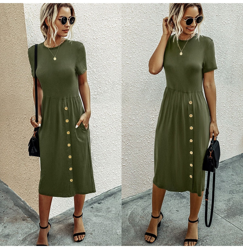 Summer Tshirt Long Dress Knitted Casual Women Button Up Pocket Midi Dresses Elegant Ladies Fitted Clothes  Dresses For Women - SunLify