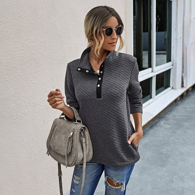 Sweatshirt Autumn Winter Clothes Women Casual Black Stitching Button Pocket Patchwork Top Fall Fashion Pullover Sweatshirts - SunLify