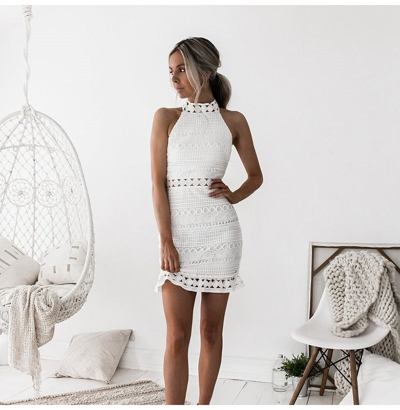 Buy Cheap Lossky Sexy Lace Stitching Hollow Out Dress Elegant Women Sleeveless White Summer Chic Short Club Party Clothes Dresses Online - SunLify