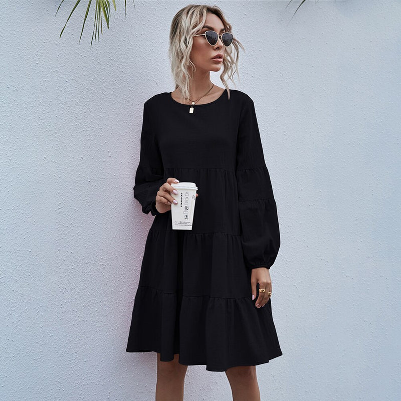 Dress Woman Autumn Spring Fashion Casual Ladies Black Ruffle Ruched Loose Fitted Womens Dresses New Arrival  Fall Clothes - SunLify