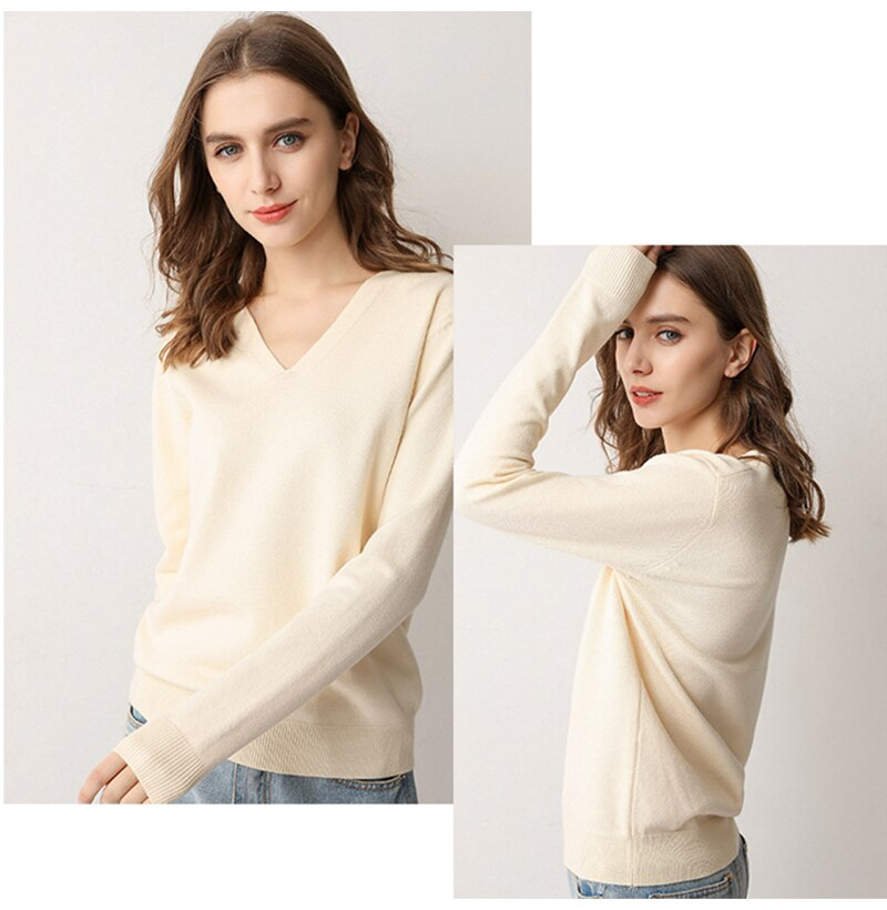 Knitted Sweater Autumn Long Sleeve V Neck Pullover Basic Thin Tops White Jumpers Sweaters Knitwear Women  Fashion Clothes - SunLify
