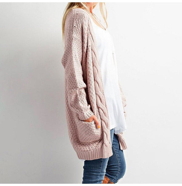 Long Sweater Cardigan Women Autumn Winter Long Sleeve Pink Knitted Clothing Pocket Ladies Oversized Plus Size Fashion Tops - SunLify