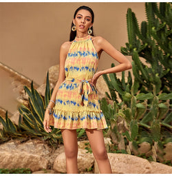 Tie Dye Dress Women Summer Aesthetic Printed Dresses Casual Strapless Ruffle Mini Clothing Womens Bow Sash  Yellow Vacation - SunLify
