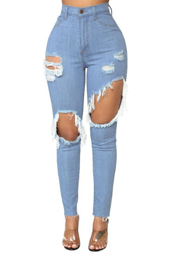 Buy Cheap Sexy Hole high waist jeans Women Fashion Ripped Pencil denim jeans ladies Summer Casaul skinny jeans calca jeans boyfriend jeans Online - SunLify