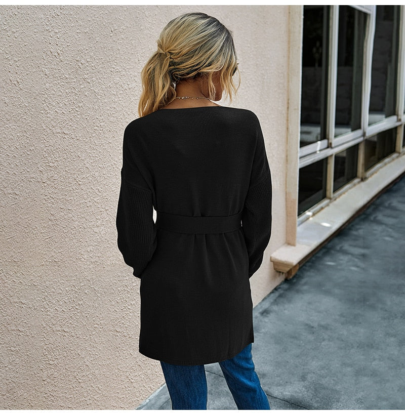 Long Cardigan Women Autumn Winter French Clothes Elegant Ladies Long Sleeve V Neck Knit Black Sweater Tops Belt  Jacket Coat - SunLify
