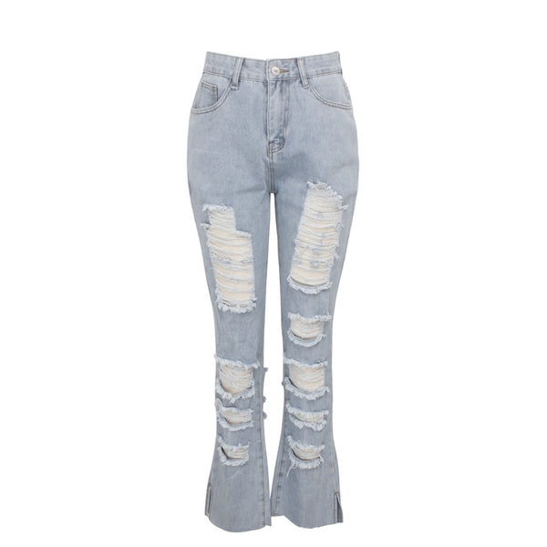 Buy Cheap Fashion high waist Split Ripped calca jeans boyfriend jeans for women Baggar Hole Pants Denim Biker Jeans Female Straight Pants Online - SunLify