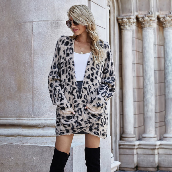 Green Long Cardigan Jacket Autumn Winter Clothes Women Loose Long Sleeve Leopard Knitted Cardigans Tops  Sweaters For Women - SunLify