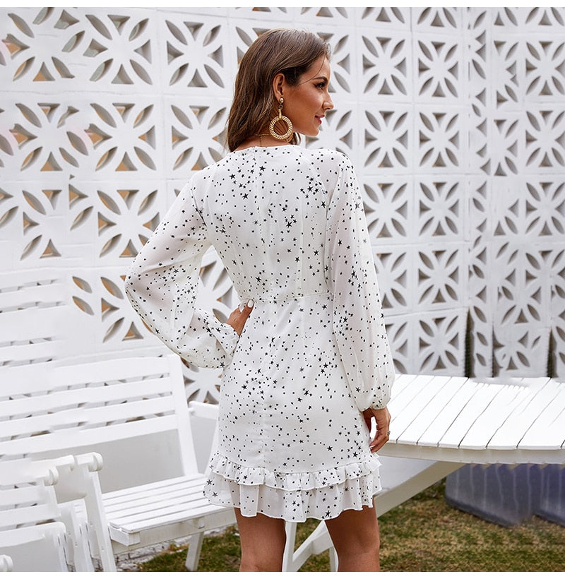 Dress Women White Casual Print Mini Dresses Elegant Ladies Layer Ruffle Ruched Fitted Clothing  Summer Spring Clothes Women - SunLify