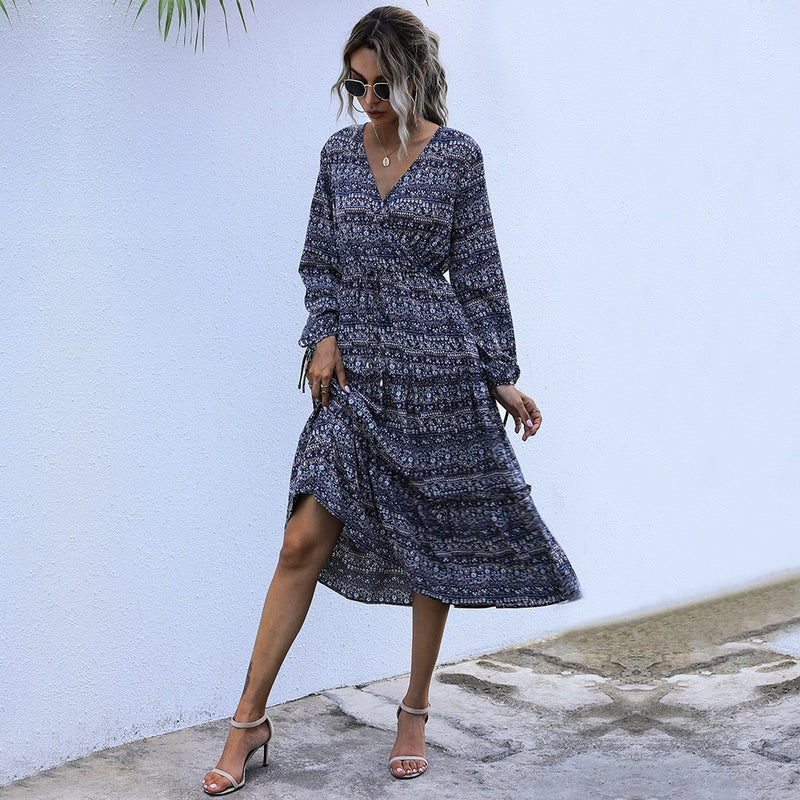 Buy Cheap Boho Long Dress Autumn Spring Causal Black Floral Print Long Sleeve Drawstring Ruched Dresses For Women Clothes New Arrival Online - SunLify