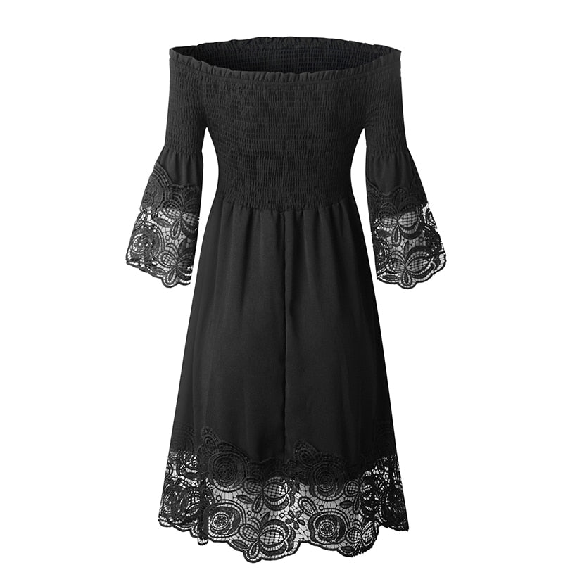 Buy Cheap Off Shoulder Dress Sexy Women Backless Ruched Dresses Party Night Ladies Black Lace Fitted Clothing Elegant  Summer Spring Online - SunLify