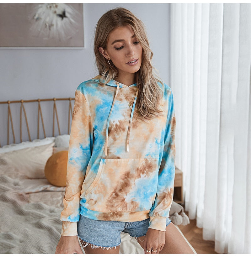 Buy Cheap Tie Dye Print Hoodie Sweatshirt Long Sleeve Pocket Pullover Pastel Aesthetic Womens Hoodies Tops Fall  Fashion Clothes Women Online - SunLify